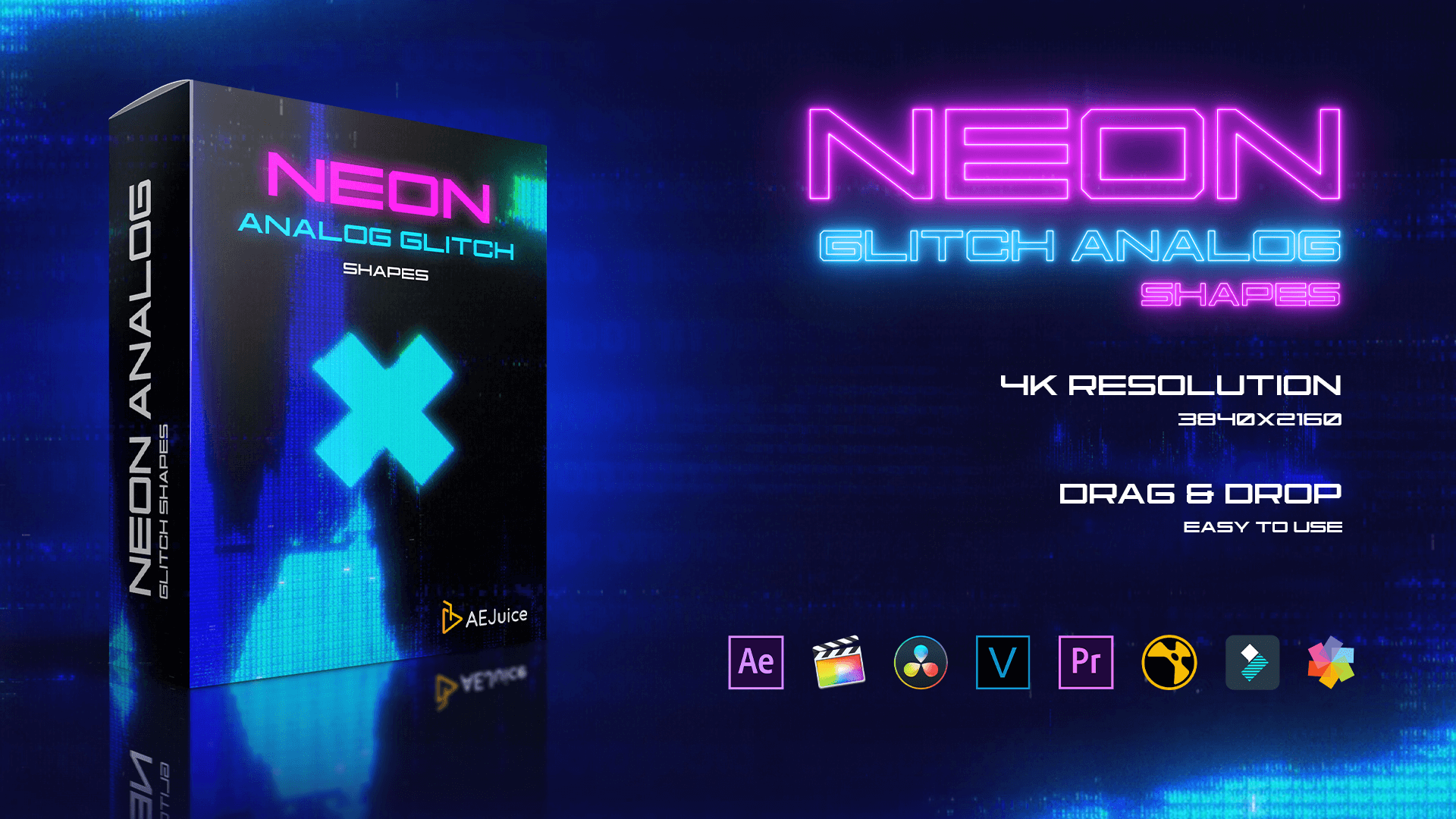 Neon Analog Glitch Shapes