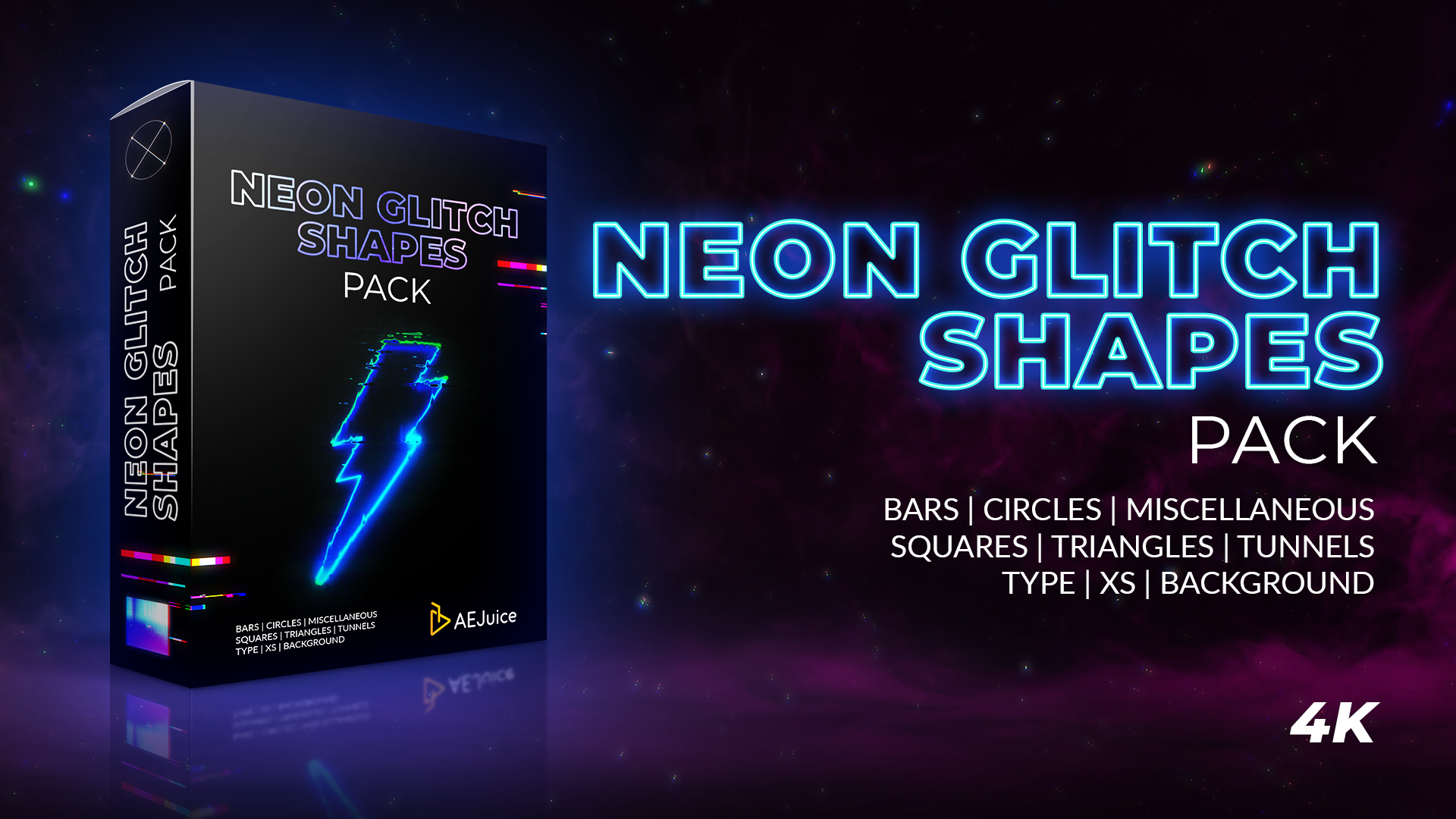 Neon Glitch Shapes